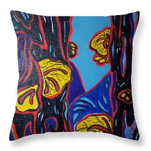 Abstract Paintings Throw Pillow featuring the painting Mushroom On Trees by Seon-Jeong Kim