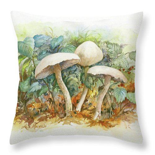 Mushrooms Throw Pillow featuring the painting Mushrooms and Berries by Lois Mountz