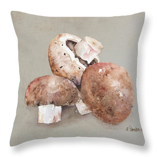 Mushroom Throw Pillow featuring the painting Mushrooms by Arline Wagner