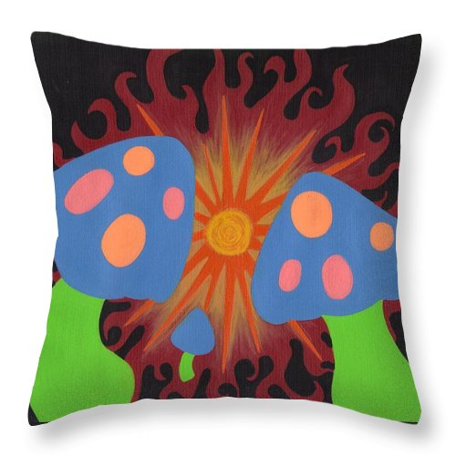 Mushrooms Throw Pillow featuring the painting Mushrooms And Fire by Jill Christensen
