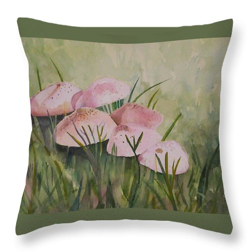 Landscape Throw Pillow featuring the painting Mushrooms by Suzanne Udell Levinger