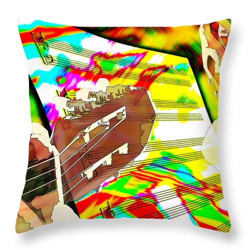 Guitar Throw Pillow featuring the digital art Music Creation by Phill Petrovic