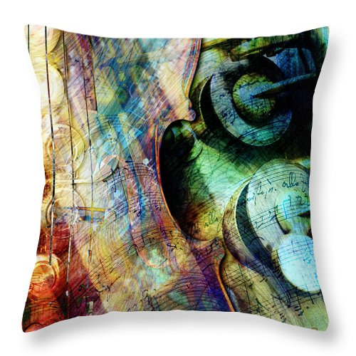 Strings Throw Pillow featuring the digital art Music II by Barbara Berney