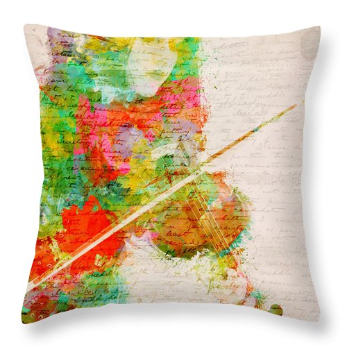 Violin Throw Pillow featuring the digital art Music In My Soul by Nikki Smith