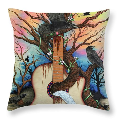 Guitar Throw Pillow featuring the mixed media Music Is My Nature by Julie Oakes