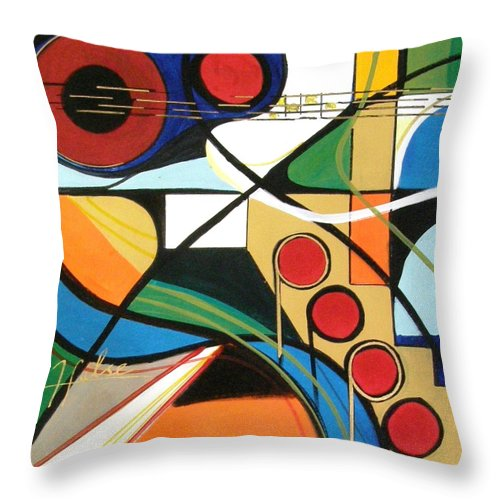 Music Throw Pillow featuring the painting Musical Abstract by Gina Hulse