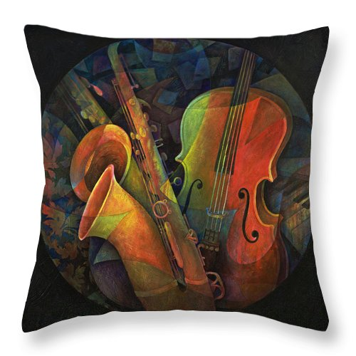 Susanne Clark Throw Pillow featuring the painting Musical Mandala - Features Cello And Sax's by Susanne Clark