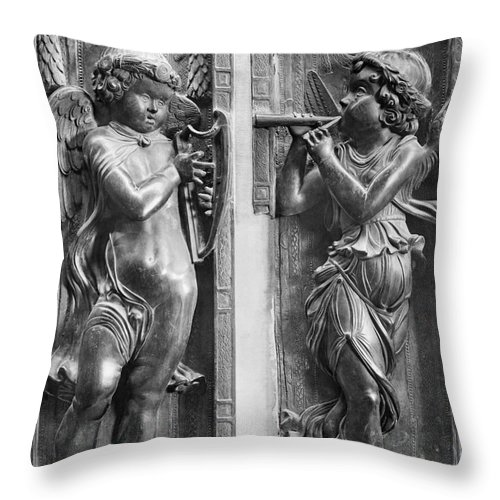1450 Throw Pillow featuring the painting Musician Angels, C1450 by Granger