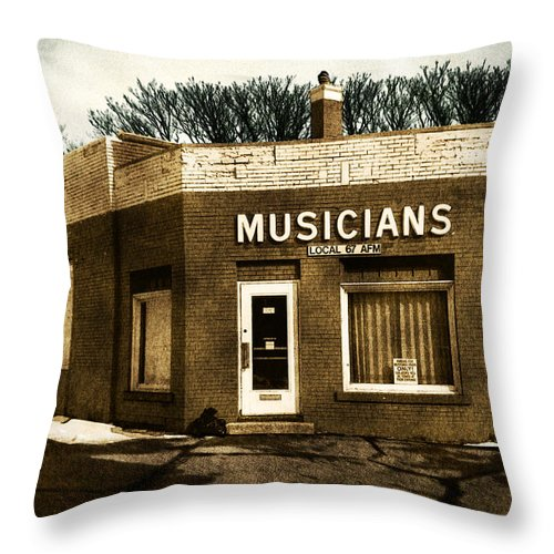 1950s Throw Pillow featuring the photograph Musicians Local 67 by Tim Nyberg