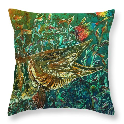 Batik Throw Pillow featuring the tapestry - textile Musky- Chasin by Sue Duda