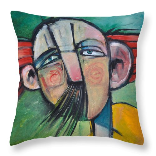 Humor Throw Pillow featuring the painting Mustached Man In Wind by Tim Nyberg