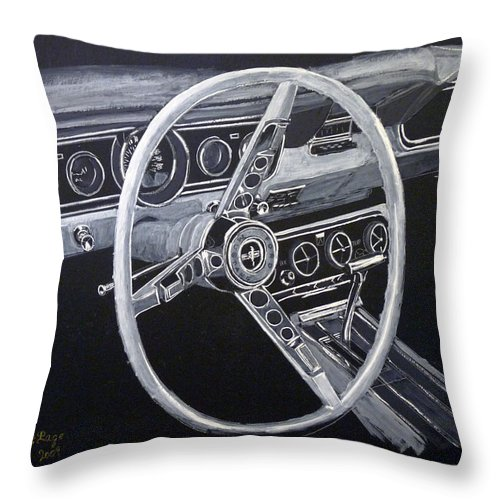 Mustang Throw Pillow featuring the painting Mustang Dash by Richard Le Page