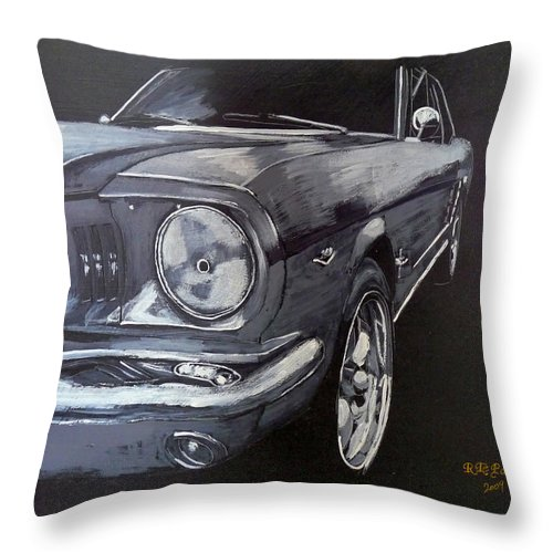 Mustang Throw Pillow featuring the painting Mustang Front by Richard Le Page