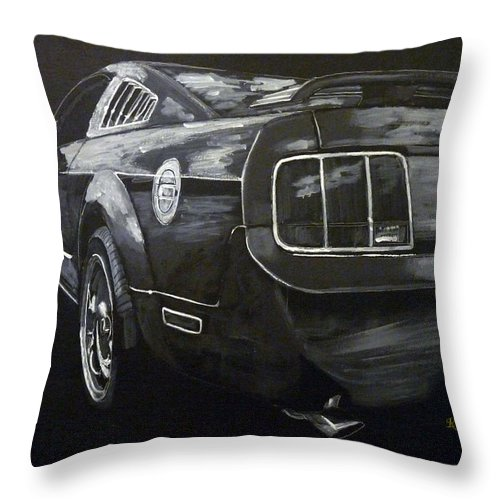Ford Throw Pillow featuring the painting Mustang Rear by Richard Le Page