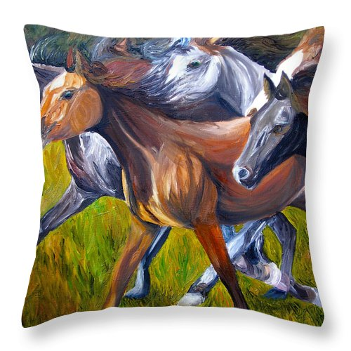 Wild Horses Throw Pillow featuring the painting Mustang Spirit by Michael Lee