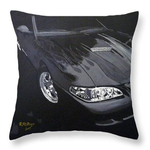 Mustang Throw Pillow featuring the painting Mustang With Flames by Richard Le Page