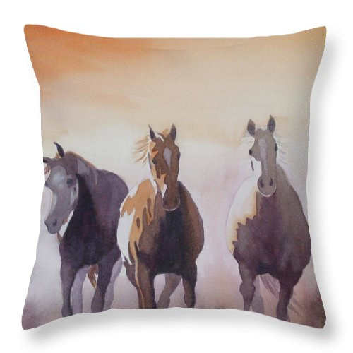 Horse Throw Pillow featuring the painting Mustangs Out Of The Fire by Ally Benbrook