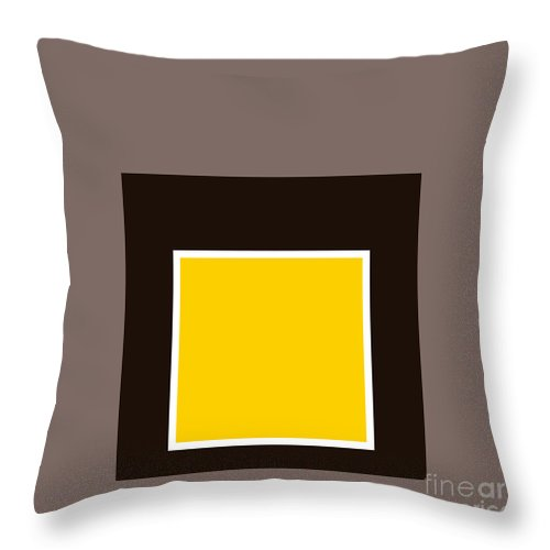 Mustard Throw Pillow featuring the digital art Mustard And Gray 8 by Abstractions Online
