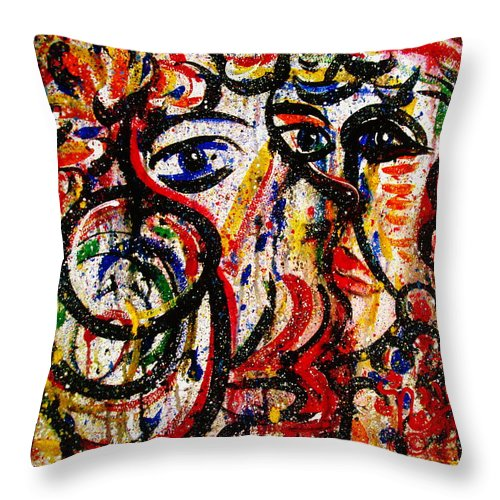 Free Expressionism Throw Pillow featuring the painting Mutual Admiration by Natalie Holland
