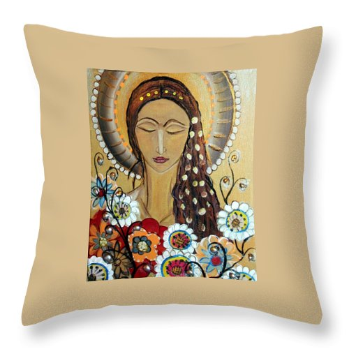 Art Throw Pillow featuring the painting My Angel Modern Icon by Luiza Vizoli