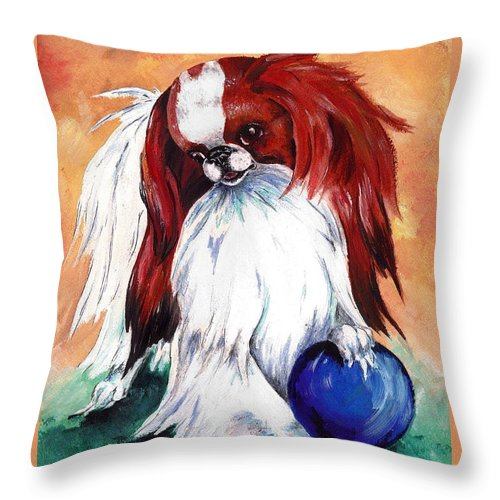 Japanese Chin Throw Pillow featuring the painting My Ball by Kathleen Sepulveda