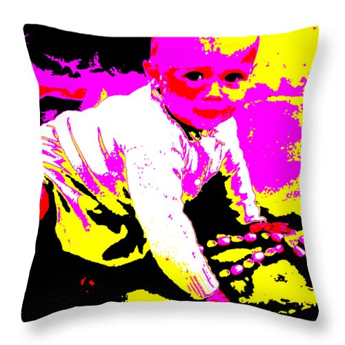 Square Throw Pillow featuring the digital art My Beads by Eikoni Images