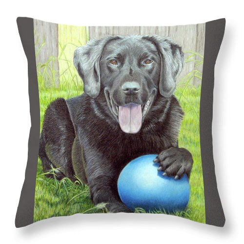Fuqua - Artwork Throw Pillow featuring the drawing My Big Blue Ball by Beverly Fuqua