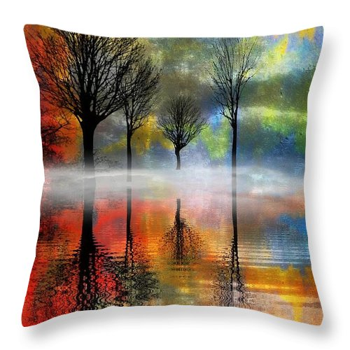 Trees Throw Pillow featuring the digital art My Blue Heaven by Ellen Cannon