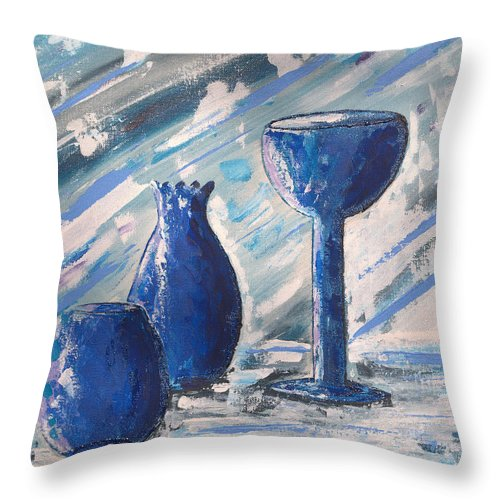 Vases Throw Pillow featuring the painting My Blue Vases by J R Seymour