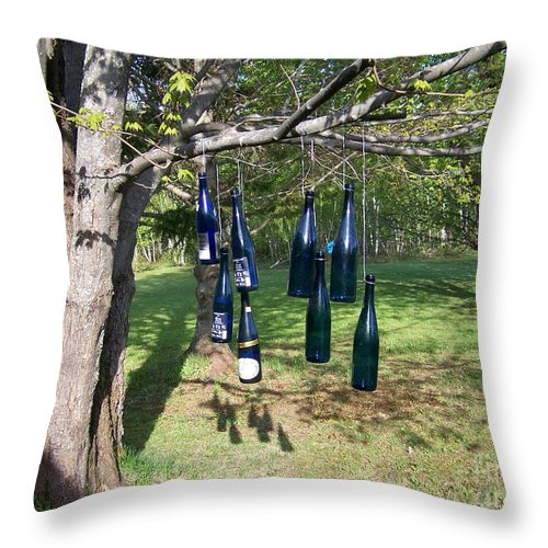 Blue Bottles Throw Pillow featuring the photograph My Bottle Tree - Photograph by Jackie Mueller-Jones