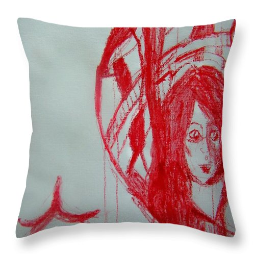Abstract Throw Pillow featuring the painting My Boyfriends Back And I Missed The Bus Again by Judith Redman