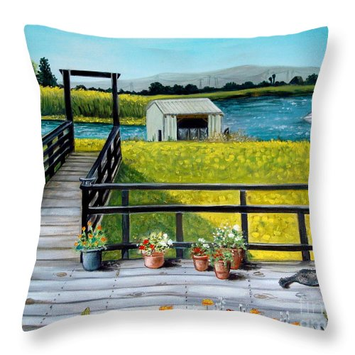 Landscape Throw Pillow featuring the painting My Canvas by Elizabeth Robinette Tyndall