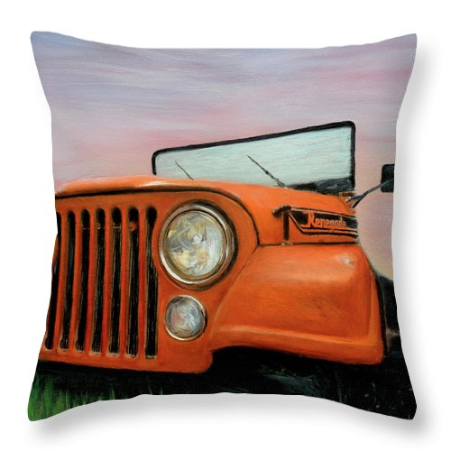 Hyper-realistic Throw Pillow featuring the painting My Cj5 by Robert Tillberg