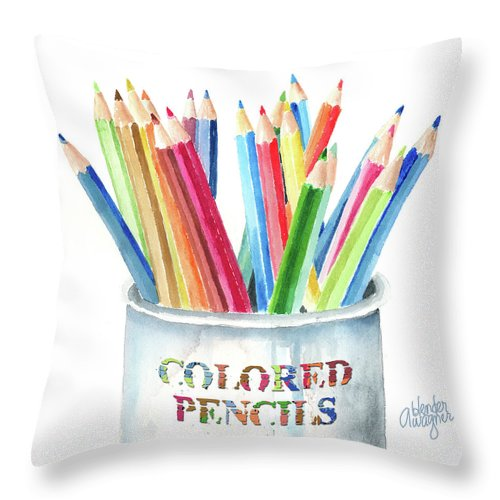 Pencil Throw Pillow featuring the painting My Colored Pencils by Arline Wagner