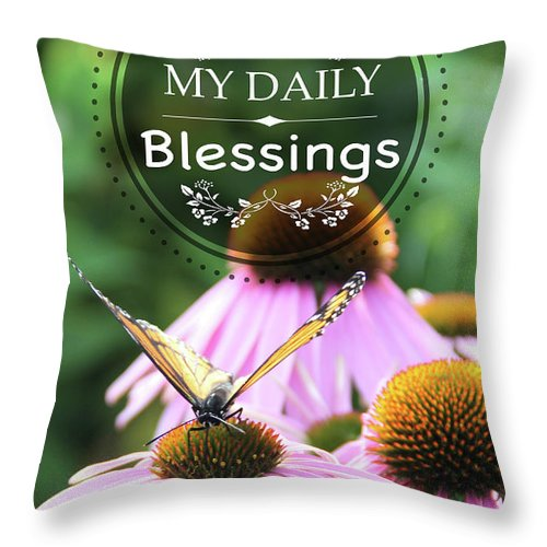 Blessings Throw Pillow featuring the digital art My Daily Blessings by Jean Plout