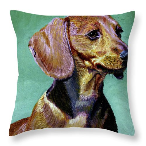 Daschund Throw Pillow featuring the painting My Daschund by Stan Hamilton