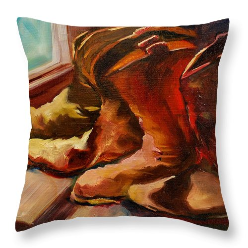 Boots Throw Pillow featuring the painting My Favorite Boots by Diane Whitehead