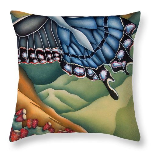 Butterfly Throw Pillow featuring the painting My Favorite Canyon by Jeniffer Stapher-Thomas