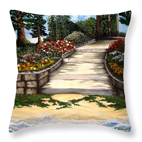Landscape.pathway Throw Pillow featuring the painting My First Masterpiece by Elizabeth Robinette Tyndall