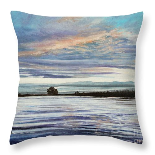 Landscape Throw Pillow featuring the painting My First Sunset by Elizabeth Robinette Tyndall