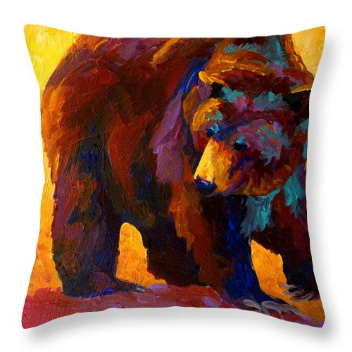 Bear Throw Pillow featuring the painting My Fish - Grizzly Bear by Marion Rose