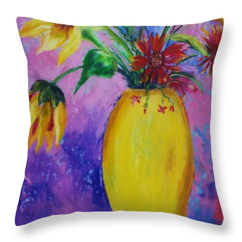 Sunflowers Throw Pillow featuring the painting My Flowers by Melinda Etzold