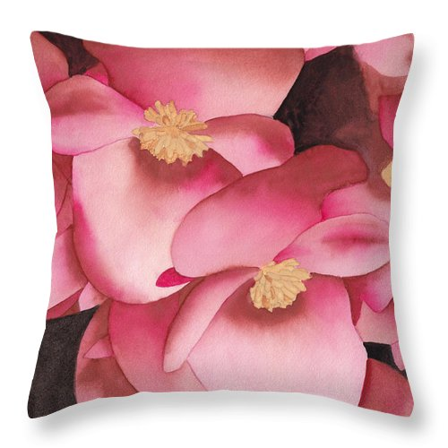 Watercolor Throw Pillow featuring the painting My French Neighbor's Flowers by Ken Powers