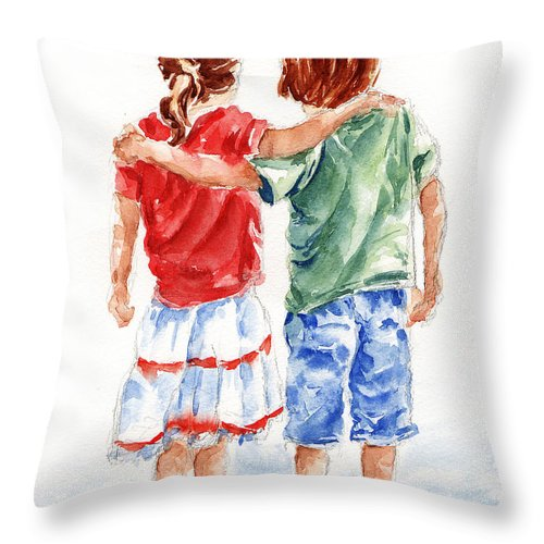 Watercolour Throw Pillow featuring the painting My Friend by Stephie Butler