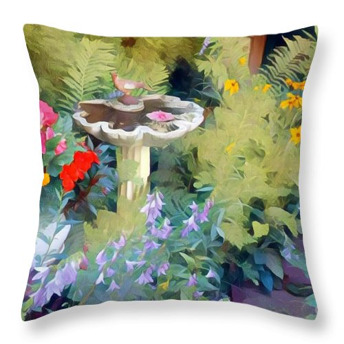 Flowers Throw Pillow featuring the photograph My Garden by Jodie Marie Anne Richardson Traugott     aka jm-ART