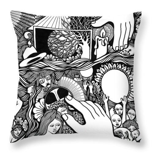 Drawing Throw Pillow featuring the drawing My God And I That Have No Charity by Jose Alberto Gomes Pereira