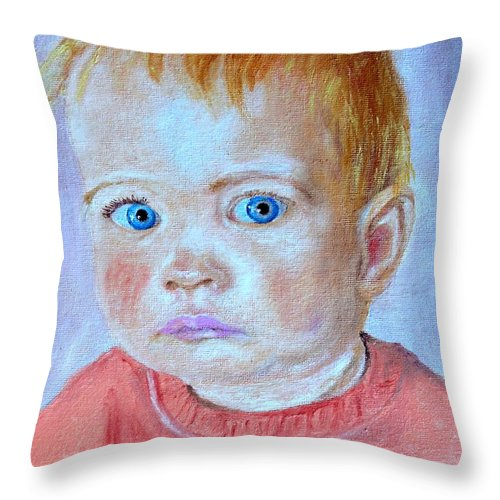 Leonie Throw Pillow featuring the painting My granddaughter Leonie by Helmut Rottler