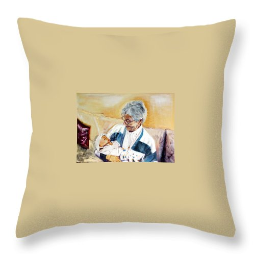 Portrait Throw Pillow featuring the painting my granddaughter Leonie with her great grandmum by Helmut Rottler