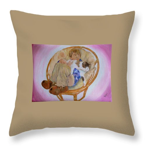 Portrait Throw Pillow featuring the painting my grandson Pascal with his cat Paul by Helmut Rottler