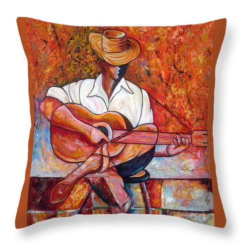 Cuba Art Throw Pillow featuring the painting My Guitar by Jose Manuel Abraham